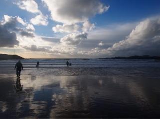 kayak surfers Trearddur Bay